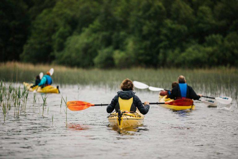 Drie kano's op een riviertje